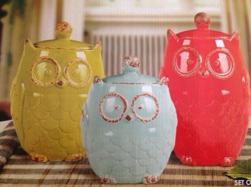 Owl canisters.
