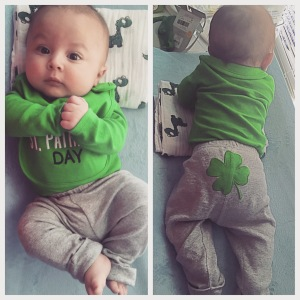 His St. Patrick outfit, and you can see him holding his head up. :)